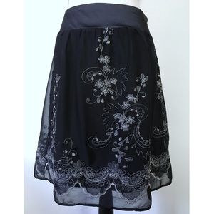 Romy Dresses & Skirts - Black Embroidered Skirt