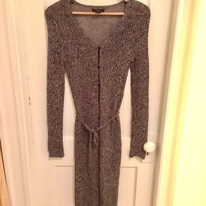 Frenchi Sweaters - Frenchi long gray marl cardigan with tie belt