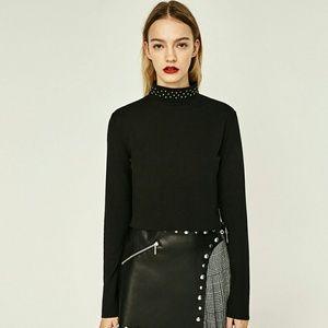 ZARA Cropped Black Studded Top