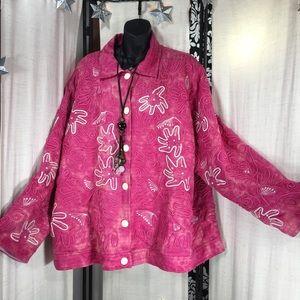 Indigo Moon Jackets & Blazers - Indigo Moon Pink Embroidered Jacket 3X