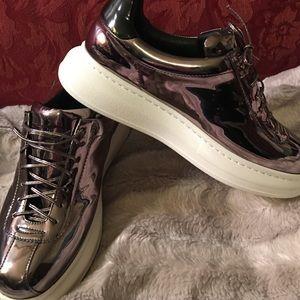 Real Leather Sneakers Jeffrey Campbell Dark Silver ShoesPlatform OknN0Z8PXw