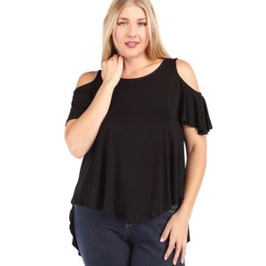 fairlygirly Tops - Flirty Cold Shoulder High Low Drapey Top