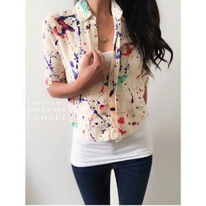 Zara Tops - Zara Splatter Paint Button Down Crop Top