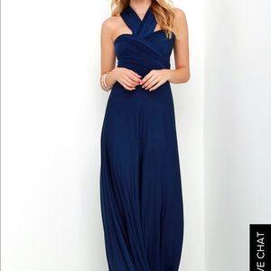 Navy Blue Convertible Long Dress
