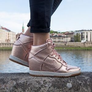 Nike Rose Gold Dunk Sky High Premium Sneakers