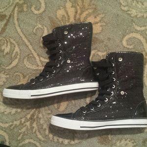 Gotta Flurt Shoes - Black Sequined Converse