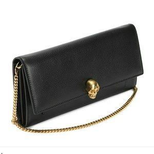 Alexander McQueen Handbags - Alexander Mcqueen Black & Gold Wallet with Chain