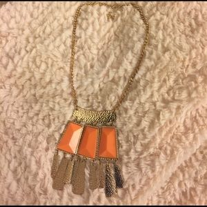 Gold and orange statement necklace