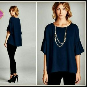 Tops - Elegant Ruffled, Navy Blouse