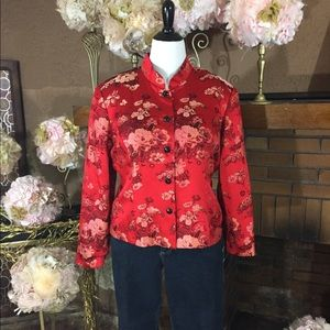 MSK  Jackets & Blazers - MSK red silk blazer Sz XL and Merona jeans