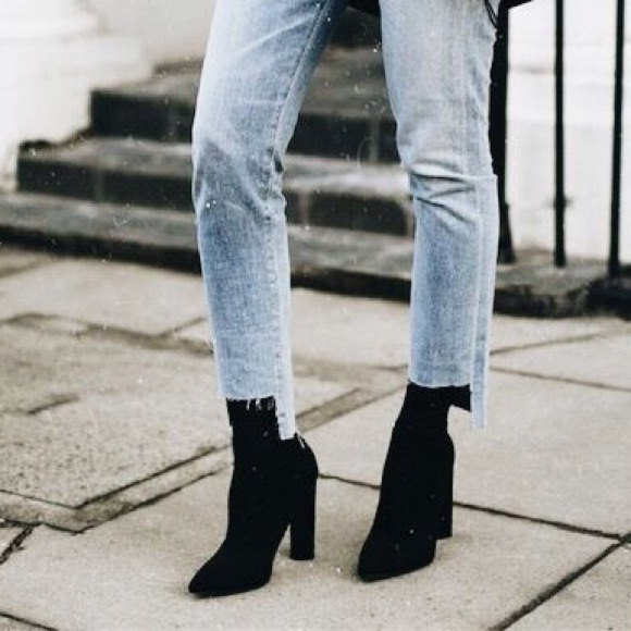Black Suede Fitted Ankle Booties   Poshmark