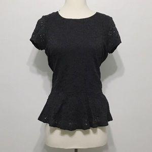 bobeau Tops - Bobeau black lace peplum shirt
