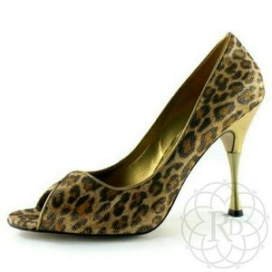 Guess by Marciano Shoes - NEW Guess Marciano Gold Leopard Peep-toe Heels