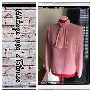 Vintage 1980's pink sheer button back blouse
