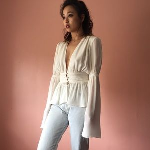 Stone Cold Fox Tops - Stone Cold Fox Plunging Silk Blouse