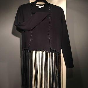 Chelsea & Violet Sweaters - Black light-jacket with leather fringe
