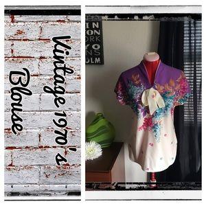 Vintage 1970's floral blouse