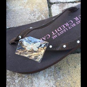 2a2a56deb Girl Two Doors Down Shoes - Rhinestone Platform Brown Flip Flops