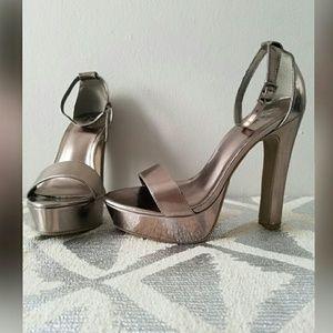 Forever 21 Shoes - 70's Vibe Pewter Metallic Platform Heels