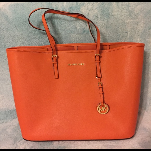94ef62deb362 Michael Kors Jet Set Travel Tote in Tangerine