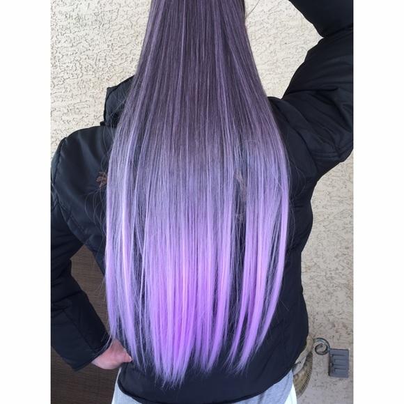 Accessories Dark To Bright Purple Ombr Clip In Hair Extension