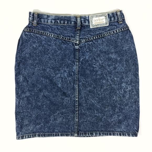 vintage vintage 80s bonjour acid wash denim pencil skirt