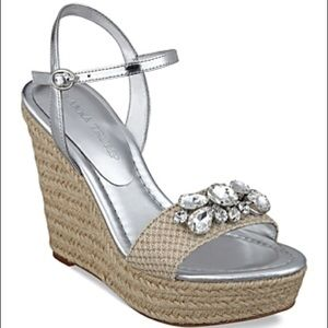 Ivanka Trump Shoes - Espadrille Wedge Sandals  Jeweled size 8.5