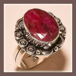 Jewelry - Kashmiri Ruby Sterling Silver Ring