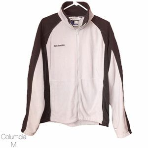Columbia Light Gray Dark Gray Fleece Jacket Med