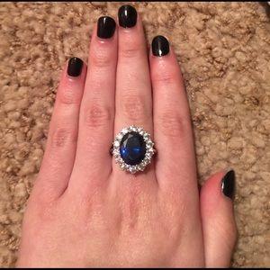 Vintage Jewelry - Blue & Silver Princess Diana Ring