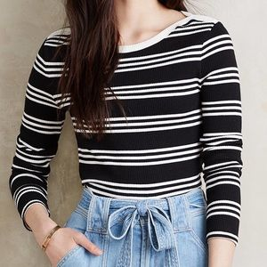 Anthropologie Everleigh Boatneck Striped Top