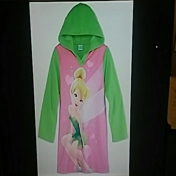 Disney Other | Girl Tinkerbell Hood Gown Pjs Size 10 New | Poshmark