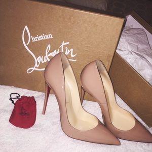 Christian Louboutin Shoes - Christian Louboutin So Kate 120 Patent Nude Heel