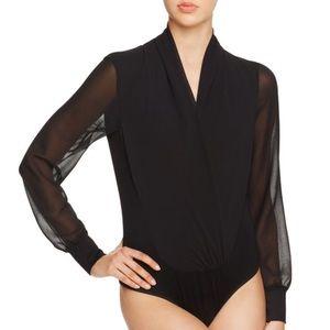 Bardot Tops - Bardot Cynthina Wrap Effect Bodysuit in Black