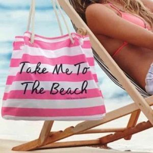 • Victoria's Secret Pink & White Beach Tote Bag •