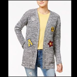 Hippie Rose Sweaters - Hippie Rose Junior's Patch Marled cardigan