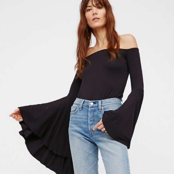9515fb4b31e Free People Tops | Last One Bird Of Paradise Bell Sleeve Bodysuit ...
