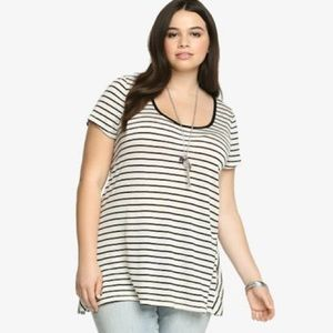torrid Tops - Striped Hi-Lo Gathered Back Tee