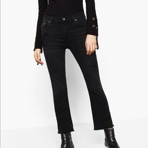 Zara black jeans with embroidery