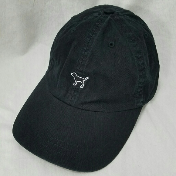 3d6e283e8 PINK by VS Black Cotton Cap With a Dog on Front