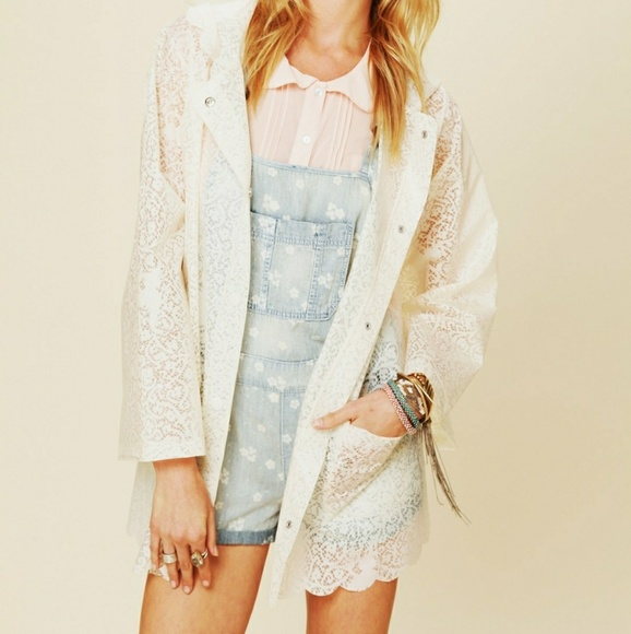 Free People Jackets & Blazers - Free People Printed Lace Raincoat size S
