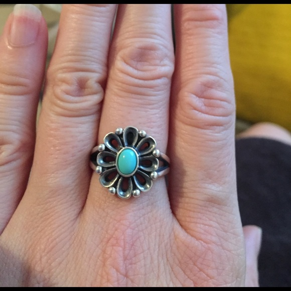 b8dc7adff James Avery Silver turquoise De Flores Ring sz 7.5.  M_58b6d460f739bc10c0133425