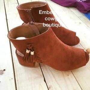 Cowgirl boho open toe peep Booties boots tassel