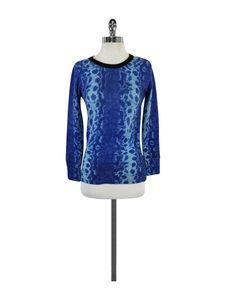 Equipment- Blue Snakeskin Print Cashmere Sweater Sz XS