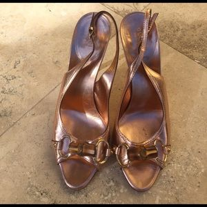 Bronze Gucci slingback heels with bamboo detail