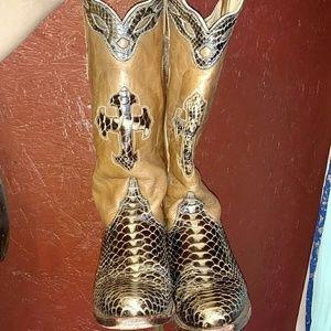 Shoes - Ferrini Python Cowboy boots