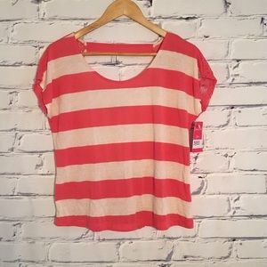 NWT Pink white striped top