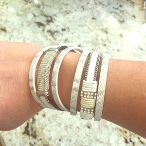 Jewelry - White leather wrap bracelet bangle cuff rhinestone