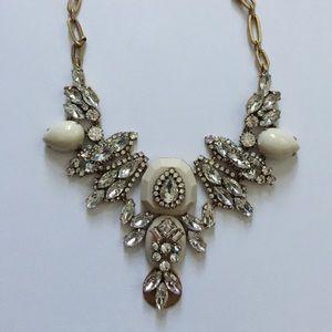 J. Crew white crystal bib statement necklace