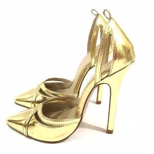 asos high heels 5 gold stiletto pointed toe shiny
